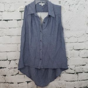 Cabi button up tank with back cutout